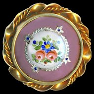 Brooch--Large Vintage 20th C. French Silver Foil Paillons & Hand Painted Enamel on Rose Ground