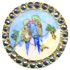 Button--Late 19th C. Emaux Peints Enamel Lovebird Parakeets in Cut Steel