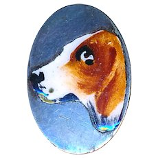 Button--Edwardian Enamel en Plein Beagle on Sterling Silver Oval