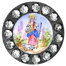 Button--Late 19th C. Emaux Peints Enamel Little Bo Peep Jeweled Border