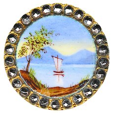 Button--Late 19th C. Emaux Peints Enamel Sailboat on Lake in Cut Steels