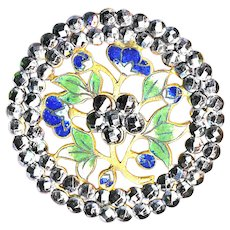 Button--Large Late 19th C. Open Champleve Enamel Blue Flowers in Double Cut Steel Border