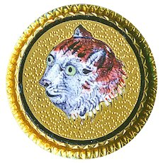 Button--Small 19th C. Enamel en Plein Tiger Cat on 10 Karat Gold