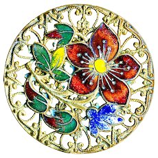 Button--Large Late 19th C. Champleve Enamel Vivid Flowers Over Filigree Brass