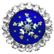 Button--Deluxe 18th C. Georgian Blue Enamel Paillons and Cut Down Paste in Silver
