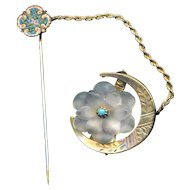 Brooch with Stick Pin Safety--Pressed Glass Imitation Rock Crystal in Crescent Moon with Micromosaic