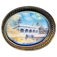 Brooch--Mid-19th C. Scene of Mughal India Under Glass in 14 Karat Gold
