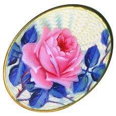 Brooch--Early 20th C. Guilloche Enamel Rose with Blue Foliage on Silver Vermeil