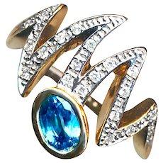 Ring--Jazzy Modern Blue Zircon  & Diamonds in 14 Karat Gold