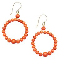 Earrings--Natural Orange Coral Bead Hoops on 14 Karat Gold Wire
