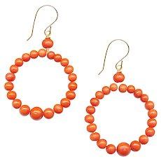 Earrings--Natural Orange Coral Bead Hoops on 14 Karat Gold Wire