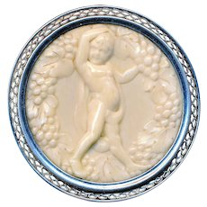 Brooch--Secessionist Motif Putto Bacchanalia in Ivoroid-celluloid Pyralin