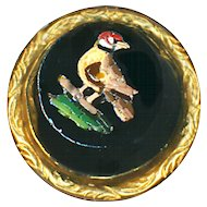 Button--Small Mid-19th C. Micromosaic Red-headed Bird in Black Glass in Unmarked 14 Karat Gold