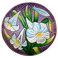 Brooch--Vintage Basse Taille and Champleve Enamel Lilies on Sterling Silver