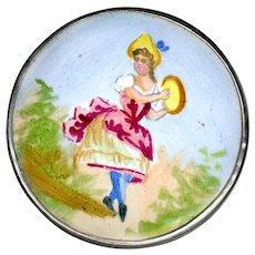 Brooch--Large Vintage Emaux Peints Enamel 18th C. Dancer with Tambourine on Sterling Silver
