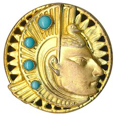 Button--Vintage Gilded Brass Aztec Head with Turquoise Glass Jewels