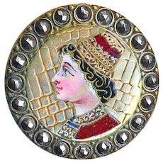 Button--Large Late 19th C. Enamel en Plein on Brass Renaissance Young Man