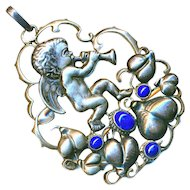 Pendant--Fahrner Large Secessionist or Jugendstil Putto with Horn in Silver