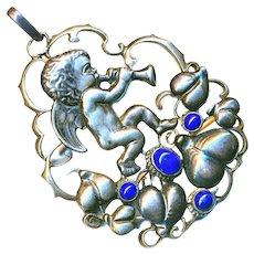 Pendant--Fahrner Large Secessionist or Jugendstil Putto with Horn in Silver