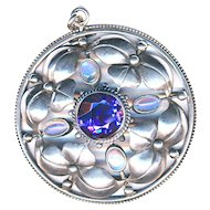 Pendant--Fahrner Early 20th C. Jugendstil Foliate Silver, Amethyst, and Moonstones
