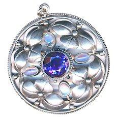 Pendant--Fahrner Early 20th C. Jugendstil Foliate Silver, Amethyst, and Moonstones