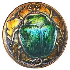 Button--Modern Large Iridescent Scarab Beetle on Bronze Patina Brass