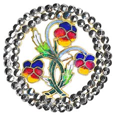 Button--Large Late 19th C. Openwork Enamel Pansies in Brilliant Cut Steel Double Border