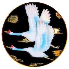 Brooch--Vintage Toshikane Arita Porcelain Red-crown Cranes in Flight