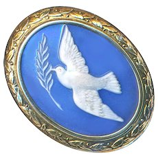 Brooch--Late 19th C. Russian Glass Cameo Dove with Olive Branch In Vermeil