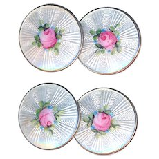 Cuff Links--Early 20th C. White Basse Taille Enamel Pink Roses on Sterling Silver