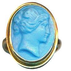 Ring--Mid-19th C. Opaque Turquoise Pate de Verre Cameo in 14 Karat Gold