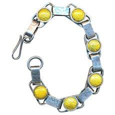 Bracelet--Arts & Crafts Period Foil Enamel on Hammered Sterling Silver Links