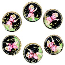 Button--19th C. Boxed Set of 6 Small Enamel Girls Swinging at Night