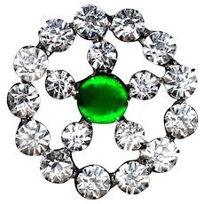 Button--Edwardian Era Rhinestones and Faux Emerald in Brass