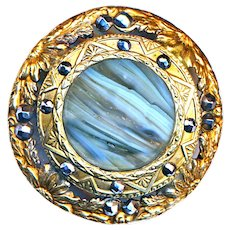 Button--Large Gay Ninety Striated Art Glass Jewel in Brass with Cut Steels
