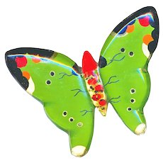 Brooch--Large 1940s Reverse Painted Perspex (Lucite) Butterfly