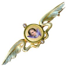 Brooch--Secessionist Golden Wings and Fine Enamel Cherub with Pearls