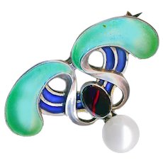 Brooch--Early 20th C. Plique a Jour Enamel, Red Stone, and Cultured Pearl