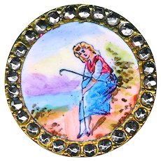 Button--Very Fine Late 19th C. Emaux Peints Enamel Girl at Beach in Steels