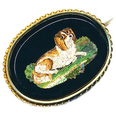 Brooch--Mid-19th C. Micromosaic Cavalier King Charles Spaniel in 14 Karat Gold