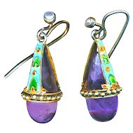 Earrings--Enamel on Sterling with Amethyst & Pearl