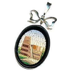 Pendant--Large Mid-19th C. Micromosaic Colosseum/Coliseum in Sterling Silver