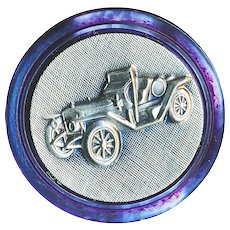 Button---Vintage Pewter Ford Model T 1910-15 Speedster on Purple Dyed Pearl