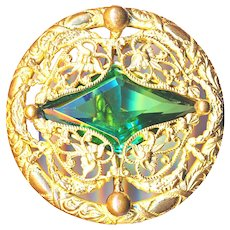 Button--Large Late 19th C. Open Filigree Brass with Hand Cut Green Glass Jewel