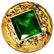 Button--Large Late 19th C. Square Emerald Green Glass in Filigree Brass and  Cut Steels