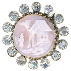 Button--19th C. Hand Carved Shell Cameo in Rhinestone Border
