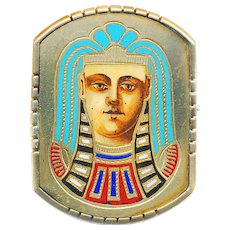 Brooch--Enamel on Gold-plated Brass Egyptian Funereal Mask--King Tut Period