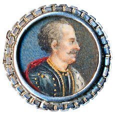 Brooch--Small 19th C. Hand Painted Portrait of Officer Under Glass in 0.800 Silver