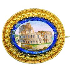 Brooch--Large Early 19th C. Micromosaic Colliseum in 22 Karat Gold and Lapis Lazuli