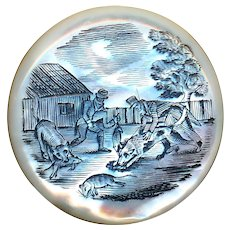 Button--Large Georgian Engraved Pearl Men and Dogs at Work--Rat Catcher
